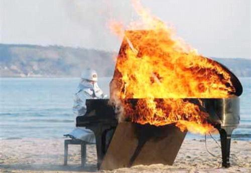 Weird piano in flames