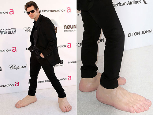 Jim Carrey weird shoes Oscars