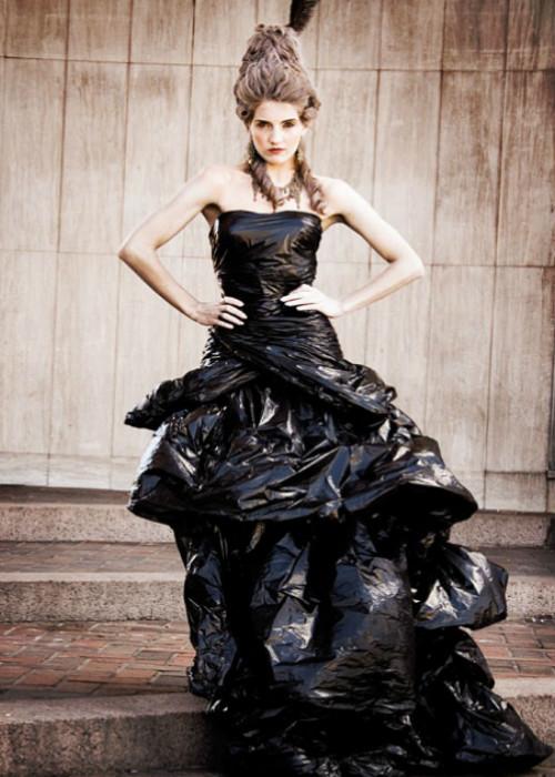 black dress woman trash bags..